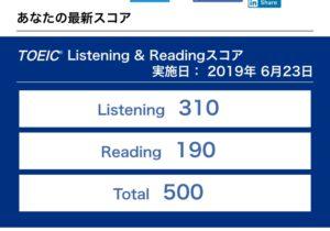 【受験記】第241回TOEIC L&R結果到着。545点→500点!45点ダウン!